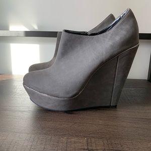 Shoe Dazzle Grey Ankle Booties with Wedge Heel